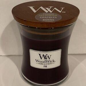 WoodWick Fig Medium Trilogy Hourglass Candle 9.7 oz WW Wood Wick Crackles Burns