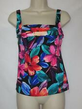 NWT Caribbean Joe Swim Tankini Black with Floral Print Size 8