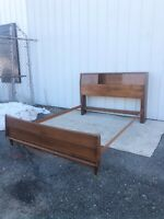 Mid Century Modern Full/Double Bed Frame with Storage Headboard