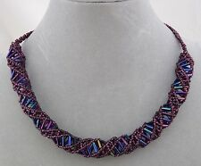Purple Blue Czech Glass Bead DNA Necklace Magnetic Clasp Fashion Jewelry NEW