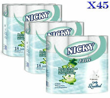 45 ROLLS NICKY ELITE 3 PLY LUXURY SOFT QUILTED TOILET ROLLS TISSUE TOILET PAPER