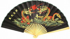 """35"""" wide Handcrafted Bamboo Wall Hanging Decorative Folding Fan Dragon Design"""
