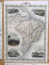 Antique vintage map 1800s: Brazil, Uruguay: Tallis 13 X 9 Reprint 1851c
