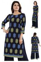 Women Indian Kurti Tunic Cotton Printed Designer Ethnic Kurta Shirt Dress RP04