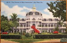 Key West, FL 1940s Linen Postcard: Convent of Mary Immaculate - Florida