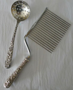 S. Kirk & Son 1800s Coin Silver Sugar Sifter and Vintage Sterling Cake Breaker
