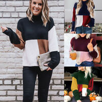 Women Long Sleeve Turtleneck Patchwork Tops Baggy Loose Knitted Sweater Jumper
