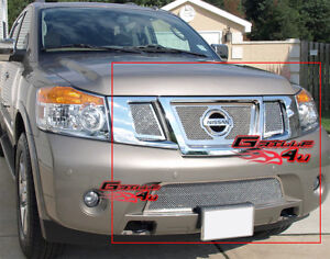 SS 1.8mm Mesh Grille Combo For 08-15 2013 2014 2015 Nissan Armada