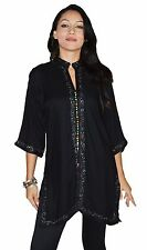 Moroccan Tunic Caftan Shirt Cotton Blouse Swim Suit Cover-up Black SML-MED