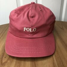 Vintage Polo Spell Out Hat Ralph Lauren Salmon Pink Usa Made Strapback