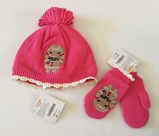 NWT Gymboree Winter Cheer 2T-3T Pink Gingerbread Girl Fleece Lined Hat & Mittens