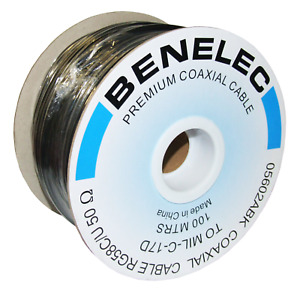 RG58 C/U Benelec Qual Coaxial Cable 50 Ohm 5mm, Made to MIL-C-17D - 05602ABK