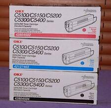 Set of 3 Genuine OkI C5100/C5400 (Black, Cyan & Magenta) Toner Cartridges -- New