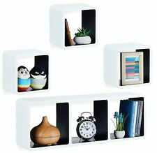 Floating Cube Shelves Set of 4 Wall Horizontal Vertical Stacking Decorative Unit