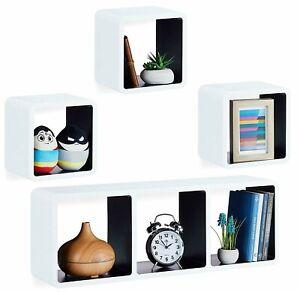 Floating Cube Shelves Set of 4 Wall Horizontal Vertical Stacking Decorative Unit