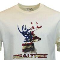 Realtree Mens Tee T Shirt S 2XL Deer American Flag Camo Logo Hunting Sleeve NEW