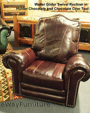 Hunter Chocolate and Chocolate Croc 100% Top Grain Leather Recliner Made In USA