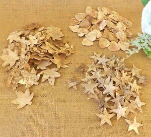 Natural Birch Tree Bark Star Leaf & Hearts Home Craft Wedding Christmas 25 & 50