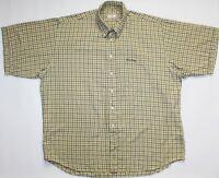 Thomas Burberry Plaid Flannel Shirt - XXXL Size 3XL - Beige & Brown Check - Mens