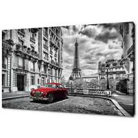 PARIS RED CLASSIC CAR EIFFEL TOWER CANVAS PRINT PICTURE WALL ART FREE DELIVERY