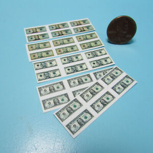 Dollhouse Miniature Replica Paper Money $1 $5 $10 and $20 30 Bills Total HR56016