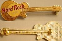 Hard Rock Cafe NO CITY NAME Metallic GOLD Les Paul Guitar STAFF PIN - HRC #3366