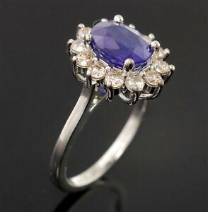 Natural Diamond Sapphire Halo Ring Certified Diamond Wedding Jewelry SDR 3