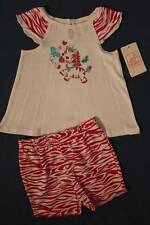 NEW Baby Girls 2 Piece Set Size 6 - 9 Months Shirt Shorts Outfit Pink Zebra