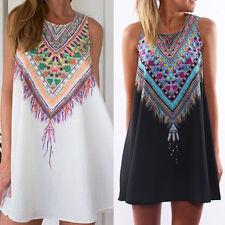 Femme Été Floral Print Chemise Robes de soirée Bal Vest Beach Mini Dress Tunique