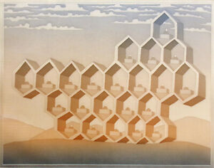 """Jean-Michel Folon """"Honeycomb"""" Hand Signed Aquatint Art Etching from Cities suite"""