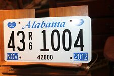 2012 Alabama License Plate Heart of Dixie Unissued 43 R6 1004