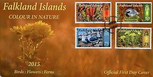 Falkland Islands 2015 FDC Colour in Nature Pt 4 4v Set Cover Birds Ferns Flowers