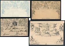 Mulready & fasimiles 1840 1d Mulready wrapper, Forbs comic envelope no 1 & 1d  &