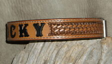 "Custom 1"" Leather Dog Collar Personalized, Your Dogs Name, Hand Tooled. G&E"