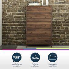 New Queer Eye Farnsworth 5 Drawer Mid-Century Modern Dresser, Walnut