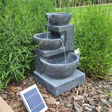 Solar Kaskaden Zierbrunnen Springbrunnen mit Akku für Garten Terrasse LED 1