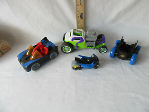 Joker Dragster DC and 2 Other Batman Cars and 1 Batman Cycle