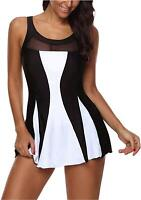 Womens Swimsuit One Piece Swimdress Tummy Control Swim, Black, Size 12.0 o
