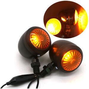 Classic 2Pcs Metal Motorcycle Turn Signal Light Lamp Indicator