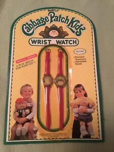 Vintage 1983 Cabbage Patch Kids Wrist Watch Set 2 Childs & Dolls Match Red
