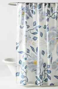 Anthropologie Catamarca Floral Shower Curtain in White/Blue