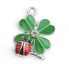 Green 4 Leaf Clover with Red Ladybug Enamel 22mm Silver Traditional Charm 1pc