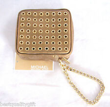 NEW-MICHAEL KORS COLLETTE BRONZE WITH GOLD STUDS SMALL POUCH,WRISTLET,BAG,WALLET