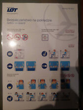 LOT Polish Airlines Boeing 737-800 safety card v2 laminated version rare
