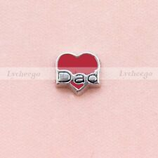 Floating Charm Red Heart Shaped Dad For Glass Living Memory Locket Free Shipping