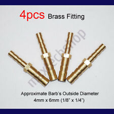4PCS 1/8 to 1/4 | 4mm x 6mm Brass Union Hose Barb Fitting Fuel Reducer Joiner