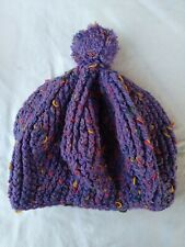 Kids Hand Knitted Beret Type Beanie With Pom Pom Purple