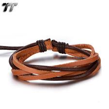 Quality TT Brown Genuine Leather  Bracelet Wristband (LB317) NEW