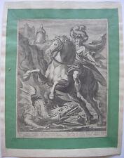 Jean Jenet (XVII. JH.) hl. Georg mata al dragón ORIG grabado 1640