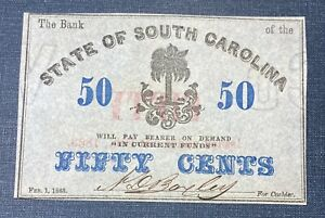 1863 50 Cents The Bank State of South Carolina Obsolete Note  AU/UNC